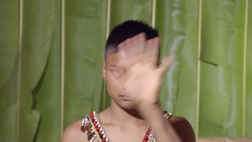 Young Boy Saluting The Viewer. In The Sense Of Good Bye In Ecuador stock footage