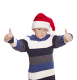 Young boy with santa hat Stock Photography