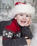 Young boy in Santa hat Royalty Free Stock Photography
