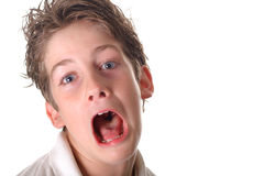 Young boy scared screaming Stock Photography