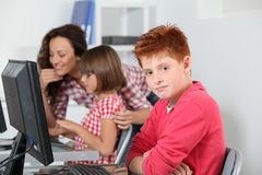 Young boy at school Stock Images