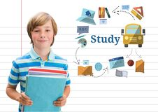 Young boy school with books and Study text with education drawings graphics Royalty Free Stock Photography