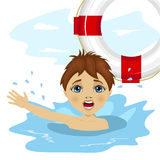 Young boy screaming in water while somebody throws ring buoy lifebuoy Royalty Free Stock Photos