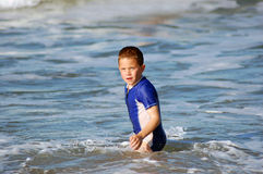 Young Boy in the sea on vacation Stock Photos