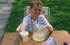 Young boy selling lemonade Stock Image