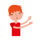 Young boy sent air kiss. Vector illustration graphic design Royalty Free Stock Image