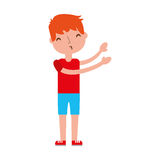 Young boy sent air kiss. Vector illustration graphic design Royalty Free Stock Photos