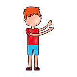 Young boy sent air kiss. Vector illustration graphic design Stock Images