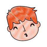 Young boy sent air kiss. Vector illustration graphic design Stock Photo