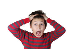 Young boy with shocked expression. On white isolated background Stock Photos