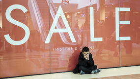 Young boy shopping Stock Photo