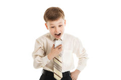 Young boy shout at a cellphone Stock Images