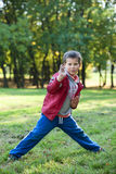 Young boy showing karate techniques in autumn park Royalty Free Stock Photos