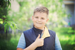 Young Boy Showing Thumbs Up Gesture Outdoor Royalty Free Stock Photography
