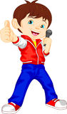 Young boy singer thumb up Stock Images