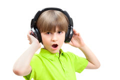 The young boy is singing Royalty Free Stock Images