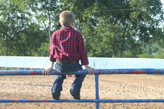 Young boy sitting on a fence Stock Photography