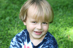 Young boy sitting in the grass Stock Images