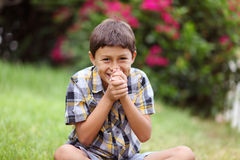 Young boy sitting outside laughing Stock Photography