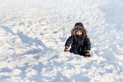Young boy sitting on the snow Royalty Free Stock Image