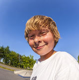 Young boy at the skate park Royalty Free Stock Image