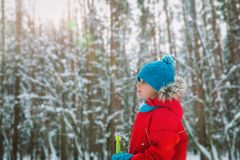 Young boy ski in winter nature, seasonal sport. Young boy ski in winter nature, kids seasonal sport royalty free stock photography
