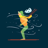 Young Boy Skiing. Vector Illustration Stock Photography