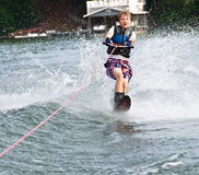 Young Boy Slalom Skier stock image