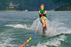 Young Boy Slalom Skier. Young boy quite at ease on his slalom ski. 10 years old stock image