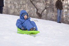 Young boy on sledge royalty free stock images
