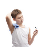 Young boy in a sleeveless shirt Royalty Free Stock Photography