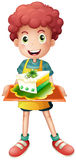 A young boy with a slice of cake Royalty Free Stock Photography