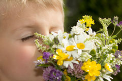 Young Boy Smelling Bouquet of Wildflowers Royalty Free Stock Images