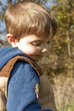 Boy looking at bug outside Stock Photo
