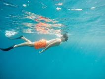 Young boy Snorkel swim in red sea. Marsa alam, Egypt. Summer holiday  vacation concept Royalty Free Stock Photography