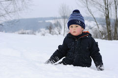 Young boy on snow Royalty Free Stock Photography