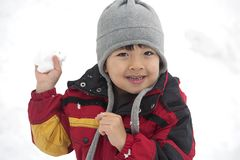 Young boy with snowball in hand. Royalty Free Stock Photography
