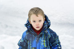 Young Boy with Snowflakes on his Hair Royalty Free Stock Photo