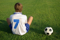 A young boy with a soccer ball Stock Photos