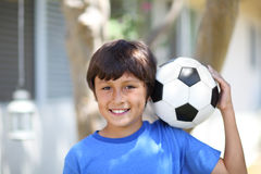 Young boy with soccer ball or football Stock Photography