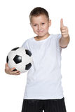 Young boy with soccer ball Stock Photo