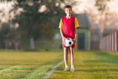 Young boy with soccer ball Stock Photography