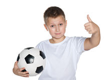 Young boy with soccer ball Royalty Free Stock Photos