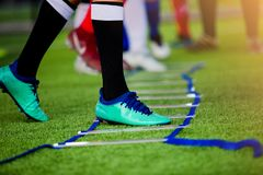 Young boy soccer players Jogging and jump between ladder drills for football training royalty free stock photos