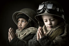 Young boy soldiers Stock Photography