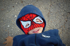 Young Boy Spiderman Hat Stock Images