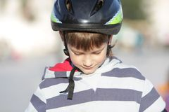 Young boy in sport helmet Stock Image