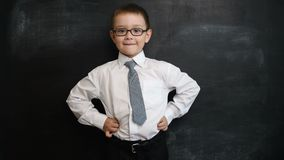 Young boy standing in a bossy pose, looking straight to camera. Creative concept of back to school and study. Pre school stock footage