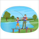 Young boy standing on a pier with grandfather and fishing. Royalty Free Stock Images