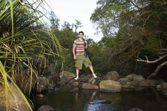 Young Boy Standing By Stream Royalty Free Stock Photos